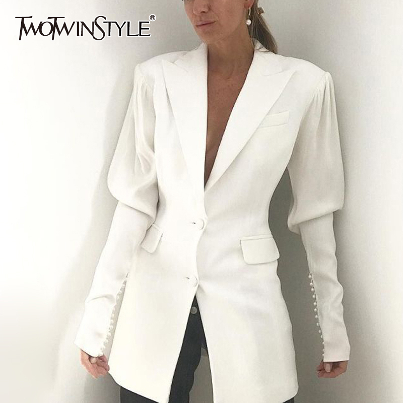 TWOTWINSTYLE White Elegant Patchwork Beading Women's Blazer Lapel Collar Puff Sleeve Pocket Suits Female 2019 Autumn Fashion New