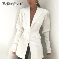 TWOTWINSTYLE White Elegant Patchwork Beading Women's Blazer Lapel Collar Puff Sleeve Pocket Suits Female 2019 Autumn Fashion New