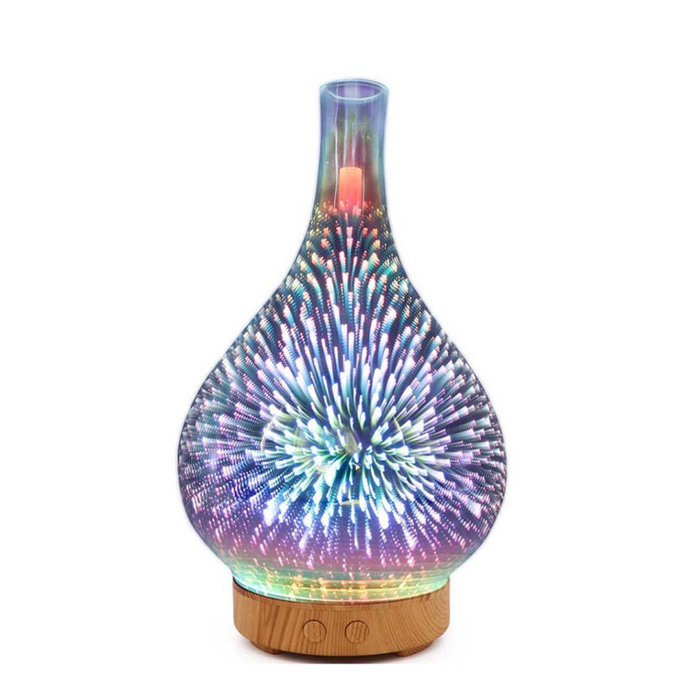 3D-001 Mini LED Air Purifier 1000ML Ultrasonic Air Humidifier Fireworks Design Colorful Light Essential Oil Purifier