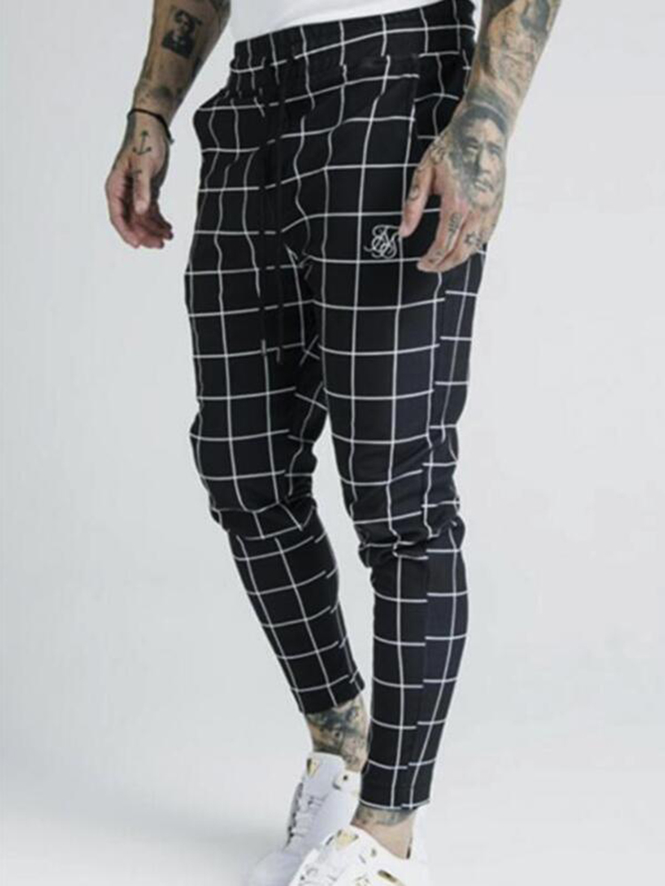 Fashion Men 2019 New Plaid Sik Silk Print Casual Sports Pants Men Street Hip Hop Fashion Slim Pants Polyester