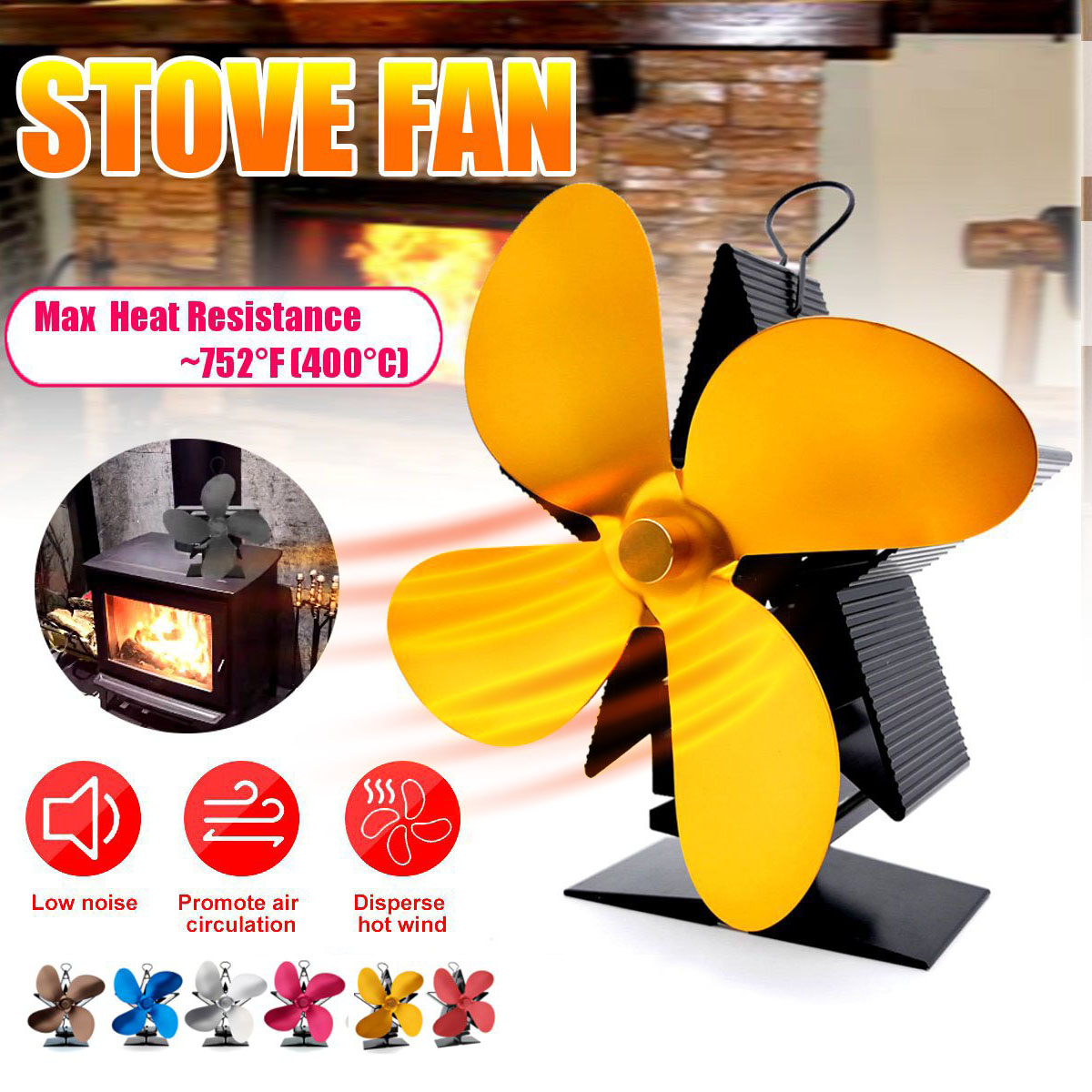 Fireplace 4 Blade Heat Powered Stove Fan Log Wood Burner Eco Friendly Quiet Fan Home Efficient Heat Distribution