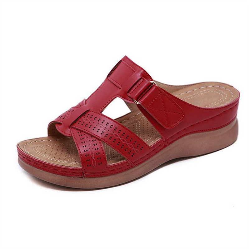 PUIMENTIUA Female Sandals Wedge Thick-Bottom Retro Large-Size Summer Anti-Slip with Comfortable