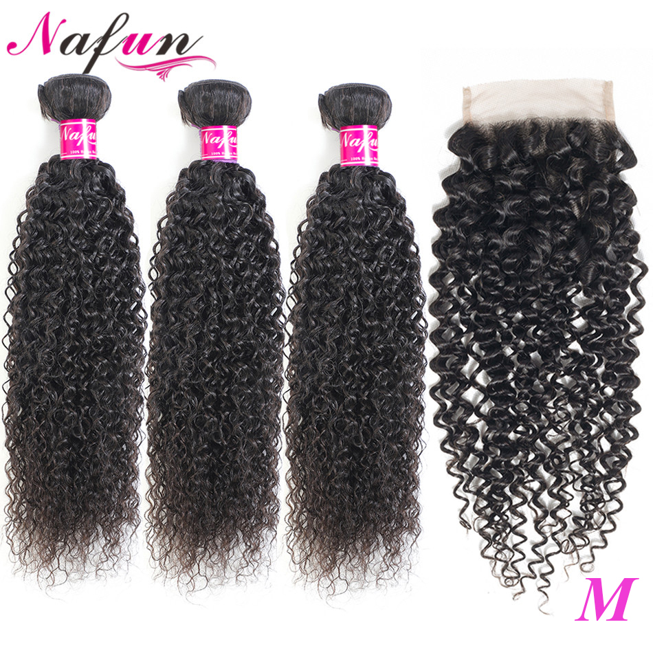 Nafun Kinky Curly Hair Bundles With Closure Human Hair Wave Bundles With Closure Peruvian Non-Remy Hair Extension Middle Ratio