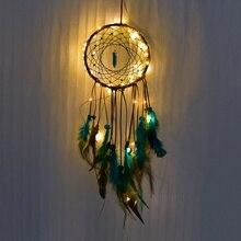 Atrapasueños de noche hechos a mano luz LED colgante de pared atrapasueños de plumas decoración de la habitación del hogar Decoración de la habitación de las niñas