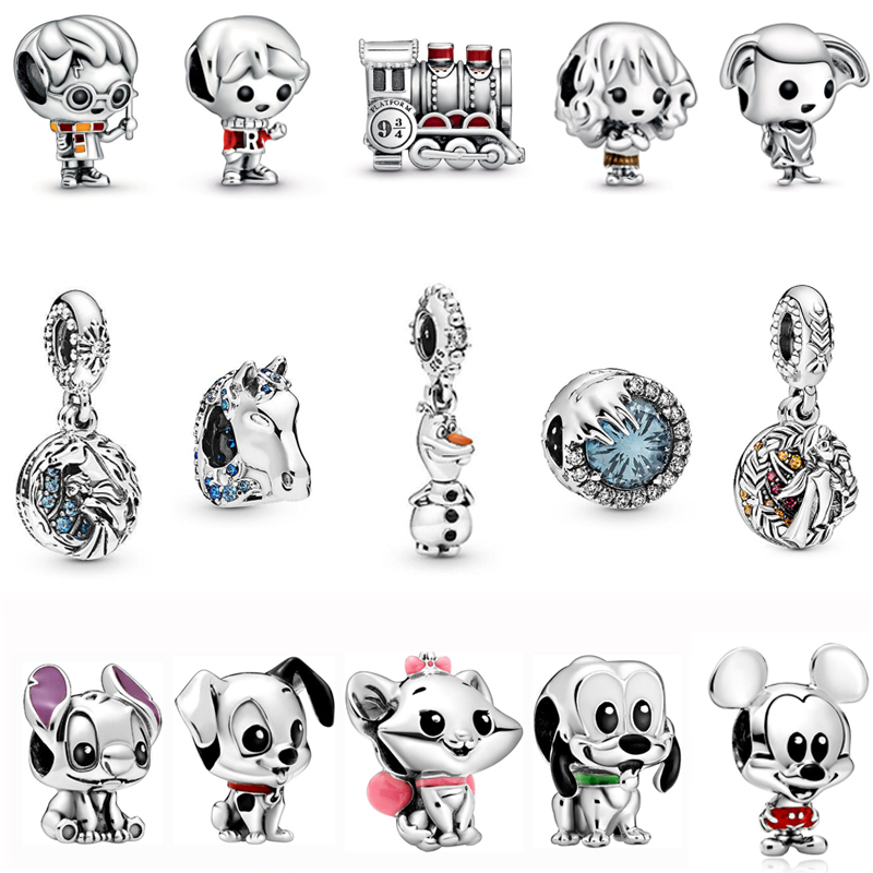 Real 925 Sterling Silver Beads Charm Potter Frozen Mickey Minnie Charms Original Fit Pandora Bracelets & Bangles DIY Jewelry(China)