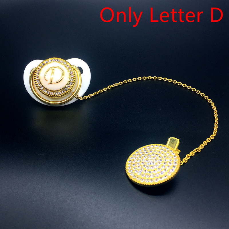 Elegant Letter D Bling Pacifier Dummy Pacifier Clip Wholesale Accepted