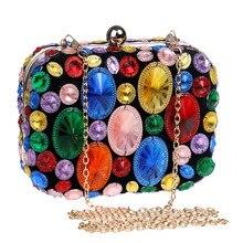 Luxury Chain Diamonds Evening Party Bag For Women Fashion Clutch Ladies Shoulder Messenger Bags Chic Female Handbags Purses New недорого