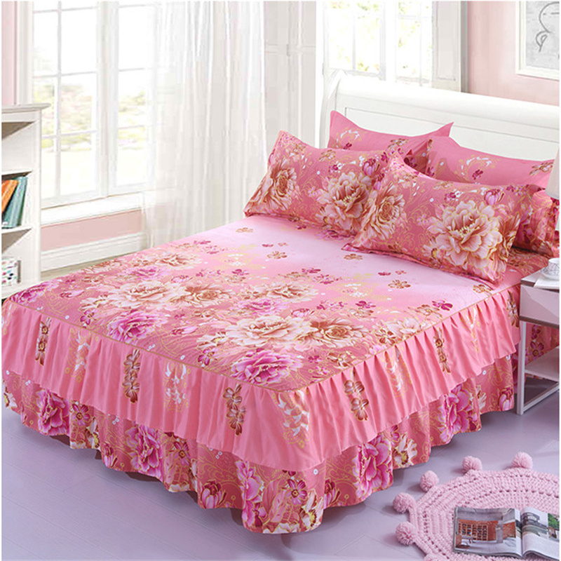 3pcs Floral Bed Skirt Non-slip Fitted Sheet Cover Graceful Bedspread Double Lace Home Textile Cover + Pillowcase Colcha De Camal