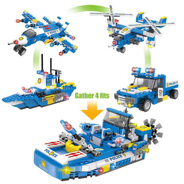 713pcs City Police Trucks Car Helicopter Building Blocks  City SWAT Team Police Boat Bricks Educational Toy For Boys