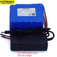 Liitokala 12 v 20ah alta potência 100a descarga bateria bms proteção 4 linha saída 500 w 800 18650 bateria + 12.6 v 3a carregador