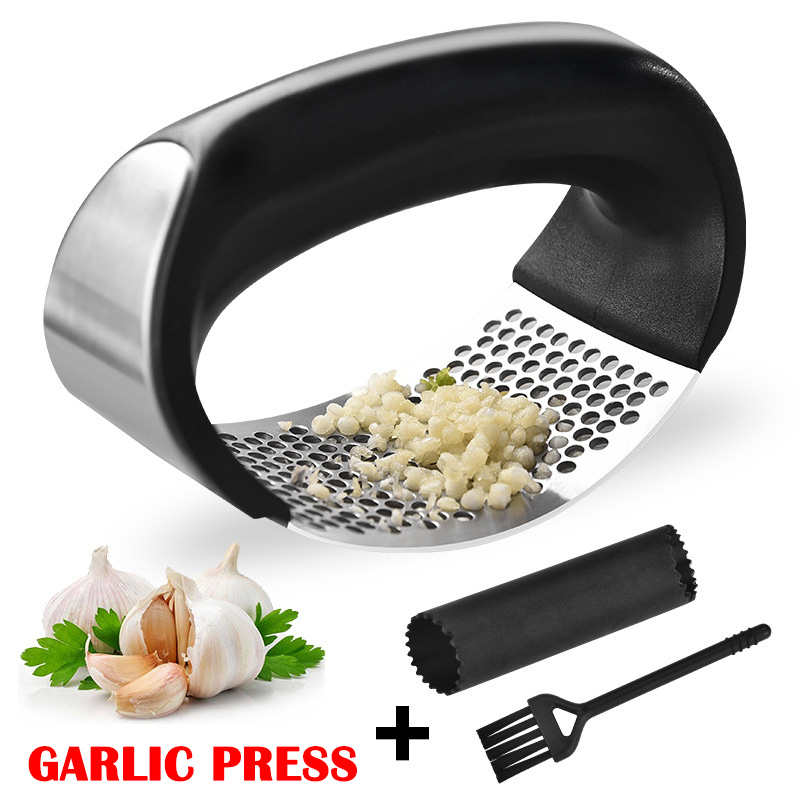 1 Set Hand held Garlic Thickener Stainless Steel Garlic Press Kitchen Tool 66CY|Kitchen Gadget Sets| |  - title=
