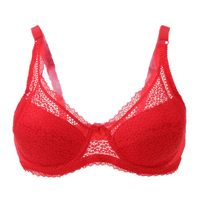 80D <font><b>85D</b></font> 90D 95D New Plus Size Ultra-thin Dot Lace Brassiere Female <font><b>Sexy</b></font> Lace Top Quality Underwear Burgundy Lace Push Up <font><b>Bras</b></font> image