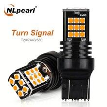 цена на NLpearl 2x Signal Lamp T20 LED Bulb 12V 3030 SMD Amber 7440 Led W21w Turn Signal Light 7443 Led W21/5w Auto Reverse Rear Lights