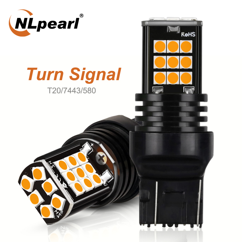 NLpearl 2x Signal Lamp <font><b>T20</b></font> <font><b>LED</b></font> <font><b>Bulb</b></font> 12V 3030 SMD Amber 7440 <font><b>Led</b></font> W21w Turn Signal Light 7443 <font><b>Led</b></font> W21/5w Auto Reverse <font><b>Rear</b></font> Lights image