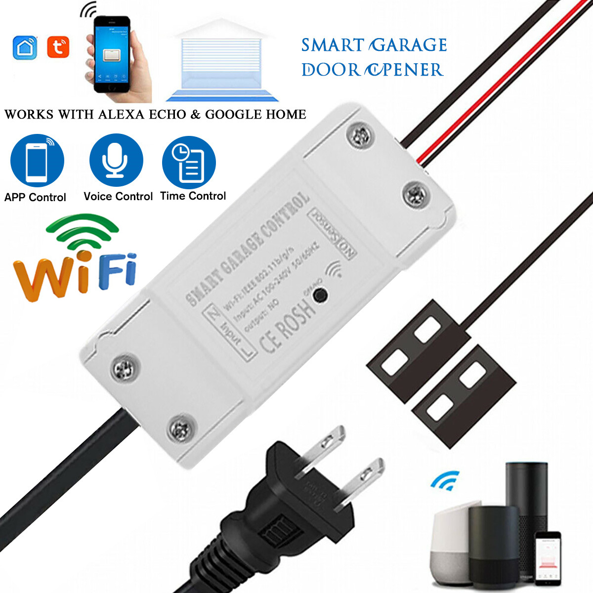 WIFI Electric Garage Door Gate Opener Relay Switch Controller Tuya Smart Life Home Automatic Alexa Google Home Automation