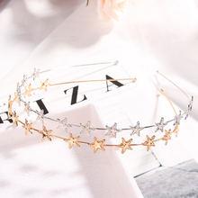 Женский обруч для волос со звездами золотистый/серебристый металлический