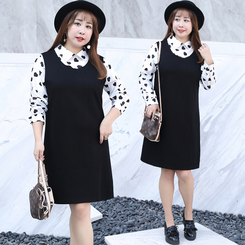 Spring New Style Extra-large And Obesity Size Large Size Dress Western Style-Dress Two-Piece Set Of Fat 1529 Sleeves!