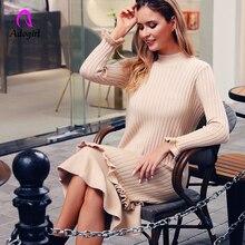 Elegant Long Knitted Women Pullover Sweater Bodycon Dress Vintage Autumn Winter Sleeve Female Outwear Sweet Ruffles Dresses
