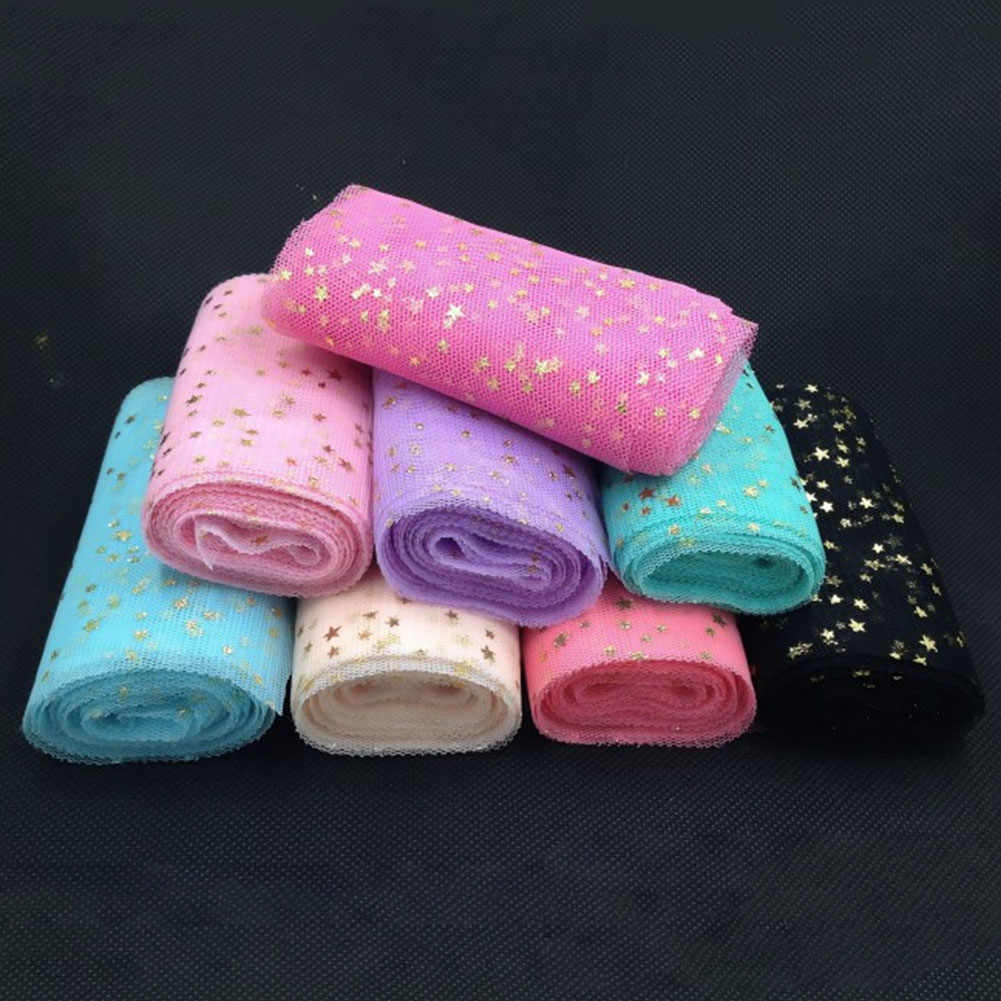 DIY งานแต่งงานวันเกิดตกแต่งดาว Tulle Confetti Glitter Tulle เค้กเบเกอรี่ Topper Tutu POM Bow นุ่ม Squine Tulle