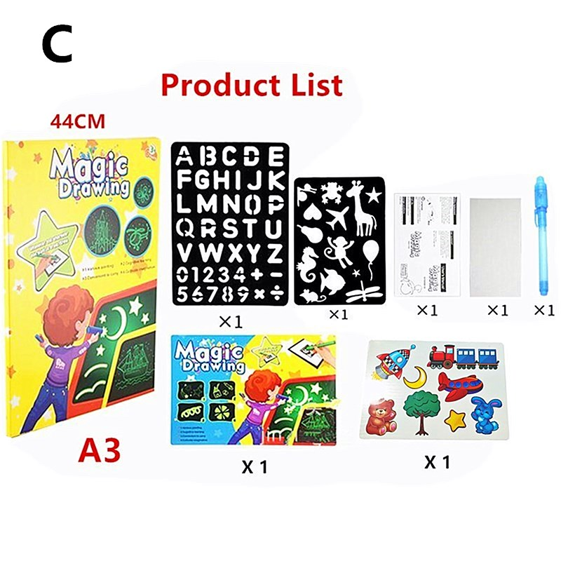 H4fc55de98d9a45378aa2c92281cd7961t - Educational Toy Drawing Board Tablet Graffiti 1pc A4 A3 Led Luminous Magic Raw With Light-fun