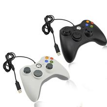 Black And White Wired Vibration Gamepad With USB Cable Game Controller Joystick For PC High Quality