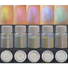 5Pcs Magic Aurora Resin Powder Mica Shiny AB Effect Pearlescent Pigments Colorants Resin Dye Jewelry Making 10g Per