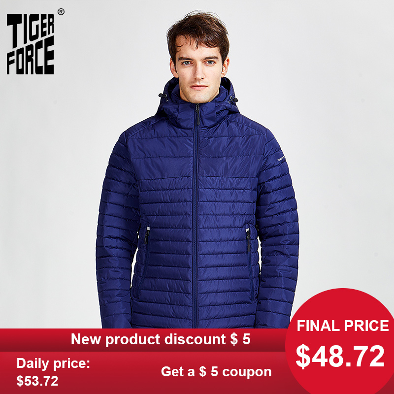 Striped-Jackets Parkas Warm Coat Tiger-Force Zipper New-Arrival Outerwear Hood Men High-Quality title=