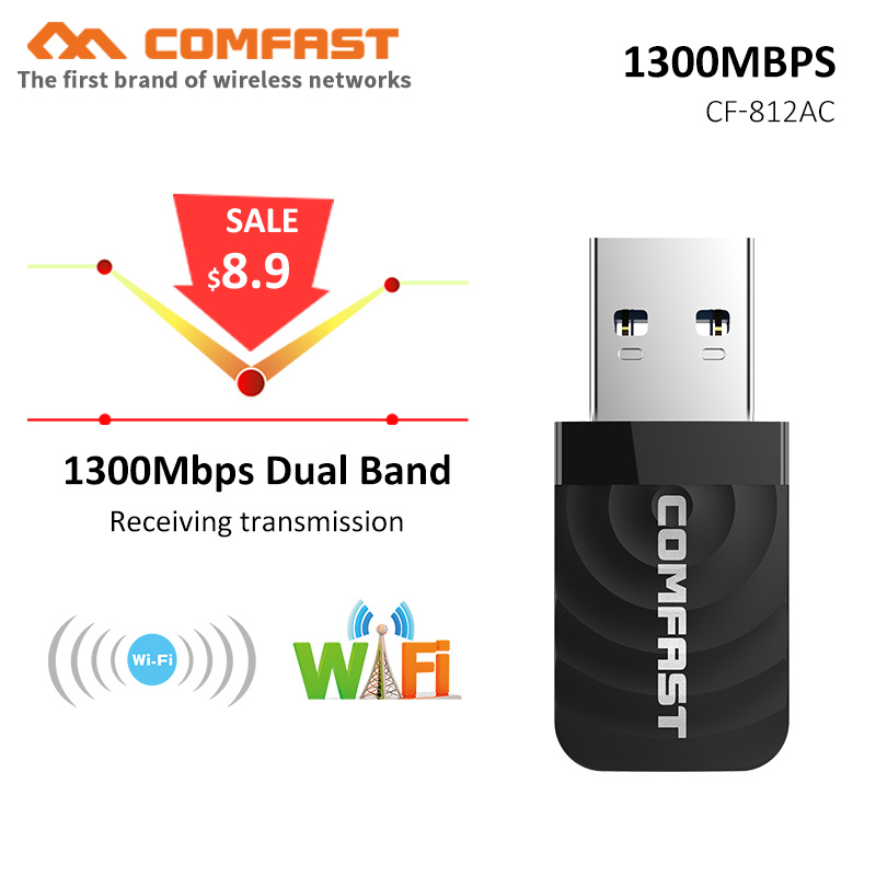 Wireless USB Wifi Adapter AC 1300Mbps Wi-fi Adapter 2 4G 5G Network Card Antenna Wi fi Receiver Lan USB Ethernet PC Wifi Dongle