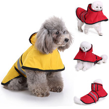 Fashion Pet Dog Rainwear Reflective Strip Waterproof Hooded Casual Coat Outdoor Protecting Safety For Puppy Raincoat D40