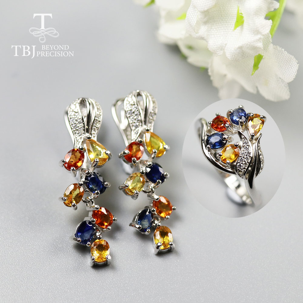 Natural Fancy color sapphire Jewelry set rose design earring ring gemstone jewelry 925 sterling pure silver for women wife mom
