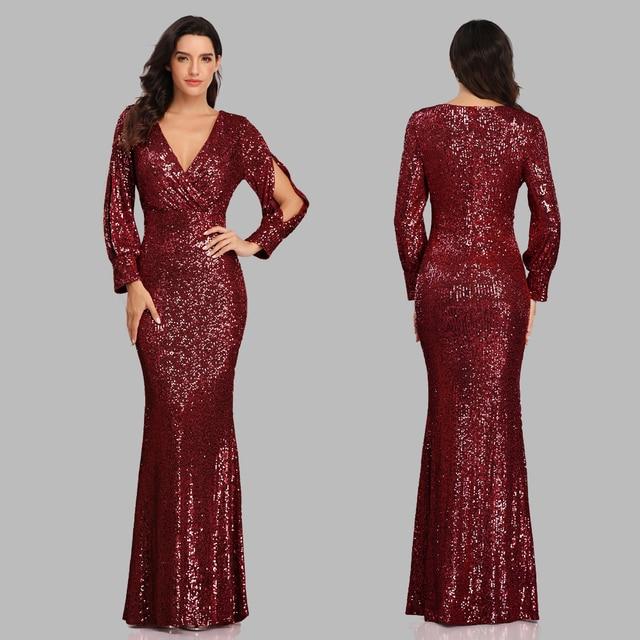 فستان سهرة جديد مثير بحورية البحر ذو رقبة على شكل V فستان رسمي طويل للحفلات الراقصة كامل الترتر طويل الأكمام 4