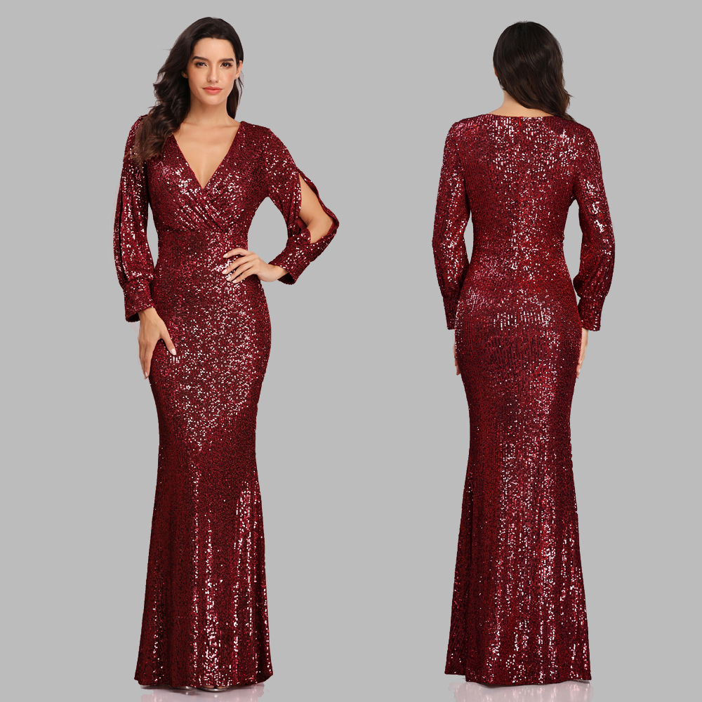 Party-Gown Occassion-Dress Mermaid Vestidos Long-Sleeve Formal V-Neck Sexy Full-Sequins