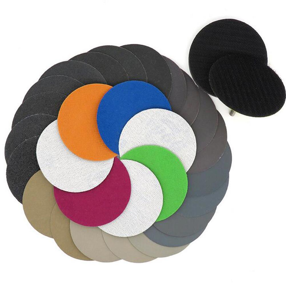 25pcs 3 Inch <font><b>75mm</b></font> Silicon Carbide Hook&Loop Flocking Waterproof Sanding <font><b>Discs</b></font> for Wet/Dry Sanding Round Abrasive Sandpaper image