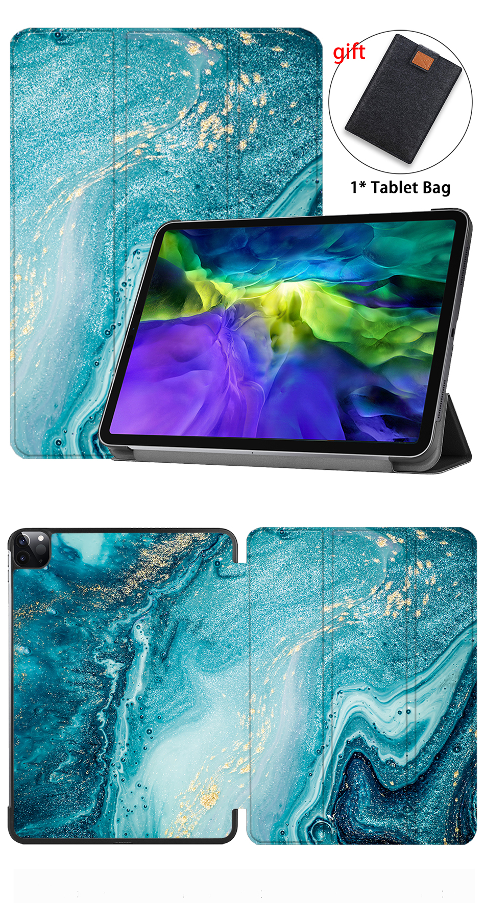 Tablet A2231 11 A2228 Case Magnetic iPad inch PU Leather MTT Pro For 2020 Fold Marble