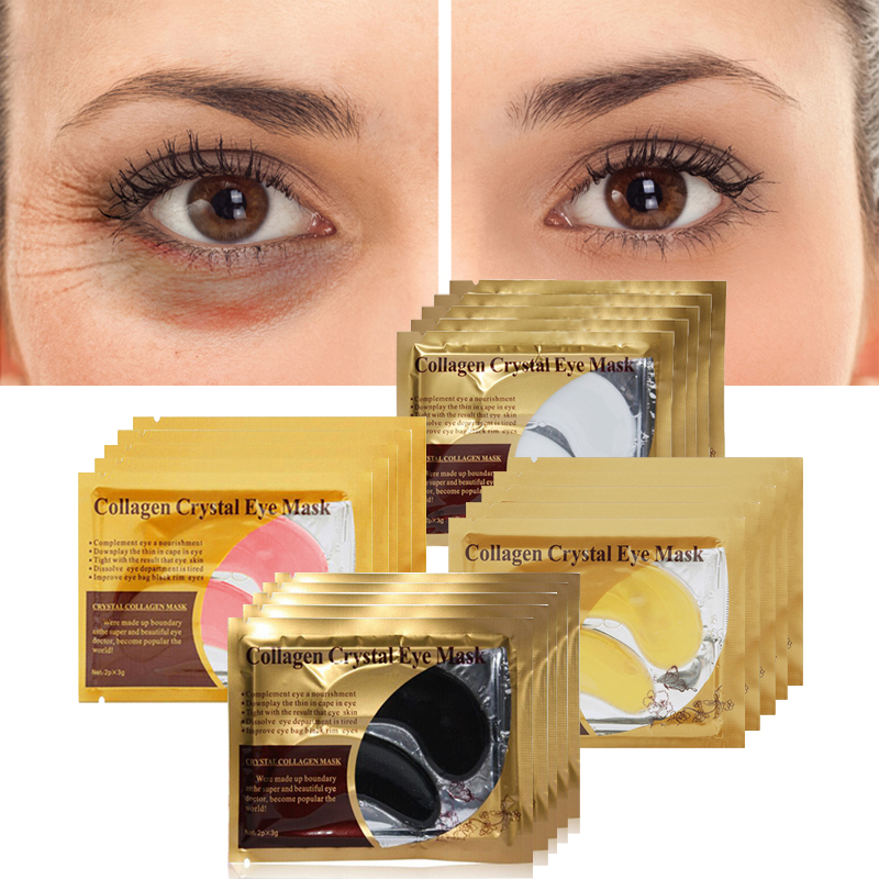 10pcs=5pair Black Collagen Eye Mask Crystal Eyelid Patch Anti Wrinkle Moisture Under Eye Dark Circle Remover Eye Pad Face Masks 4