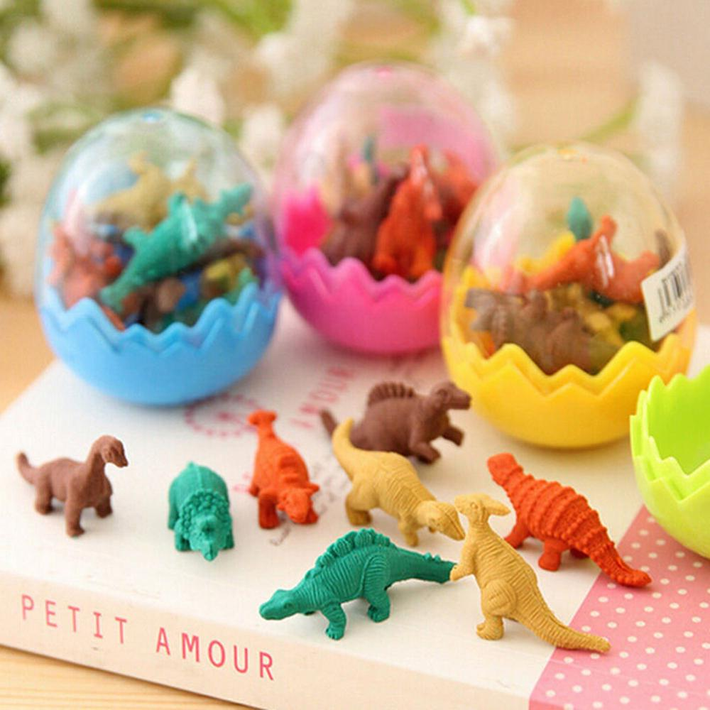 8Pcs Cute Dinosaurs Egg Pencil Rubber Eraser Students Office Stationery For Kids With 1 Eggs