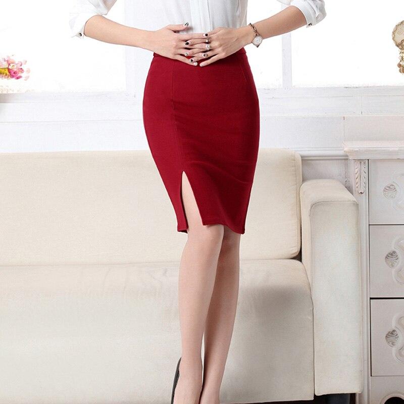 Fashion Women Office Formal Pencil Skirt Autumn Elegant Slim Front Slit Midi Bodycon Skirts OL Bandage Skirts
