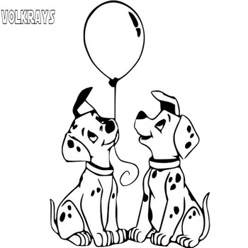 Volkrays Lovely Car Sticker Dalmatians Dog Endearing Accessories Reflective Waterproof Vinyl Decal Black/Silver,13cm*8cm image