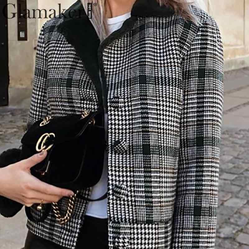 Glamaker клетчатое пальто из искусственного меха, меховая куртка, Женская пикантная черная Лоскутная теплая толстая верхняя одежда, осенняя короткая куртка с искусственным мехом, зимнее пальто