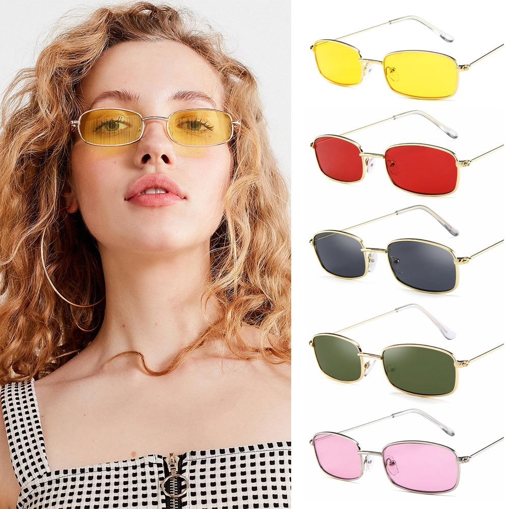 Colori caramelle montatura in metallo occhiali da sole rettangolari piccole tonalità retrò occhiali da sole UV400 per uomo donna occhiali da guida occhiali estivi 2