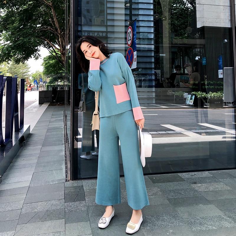2 Piece Sets 2019 Autumn New Fashion Women's Long Sleeve Knit Wide Leg Pants Suit Female Loose Large Size Two-piece Female