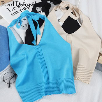 Pearl Diary Women Halter Knit Crop Top Summer Solid Sexy V Neck Short Top Knitted Going Out Backless Casual Crop Top For Women striped halter neck crop shell top