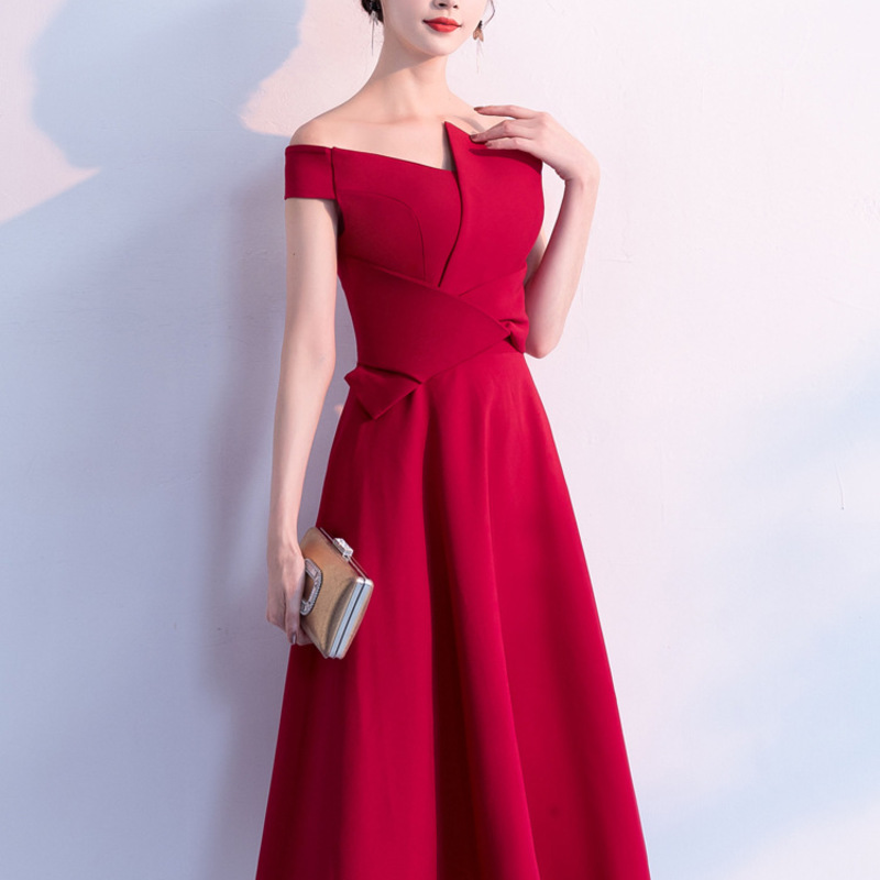 2020 Limited A Word Shoulder Satin Toast Served Dinner Spring Female Temperament To Wear Evening Dress Skirt At Ordinary Times