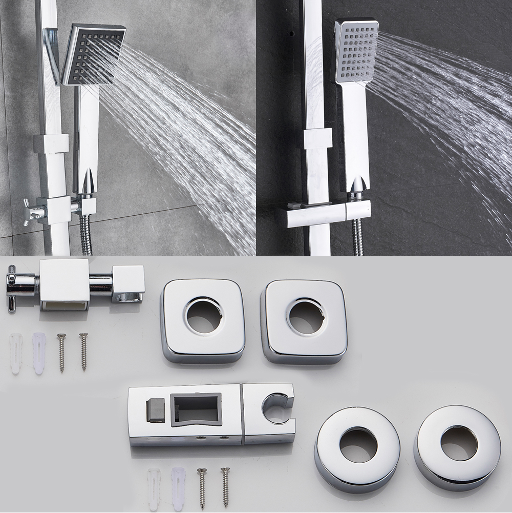 H4fc6acf858e940dc9c1e6aec002fa5aaR POIQIHY Black Bathroom Shower Faucet Set Wall Mount Black 8''Rainfall Shower Head With Handheld Sprayer Bathtub Shower Mixer