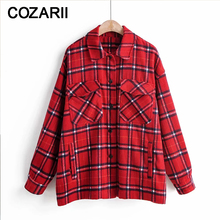 Vintage women red plaid thick long shirts 2019 fashion ladies tweed shirt female autumn woolen blouses oversize girls chic tops