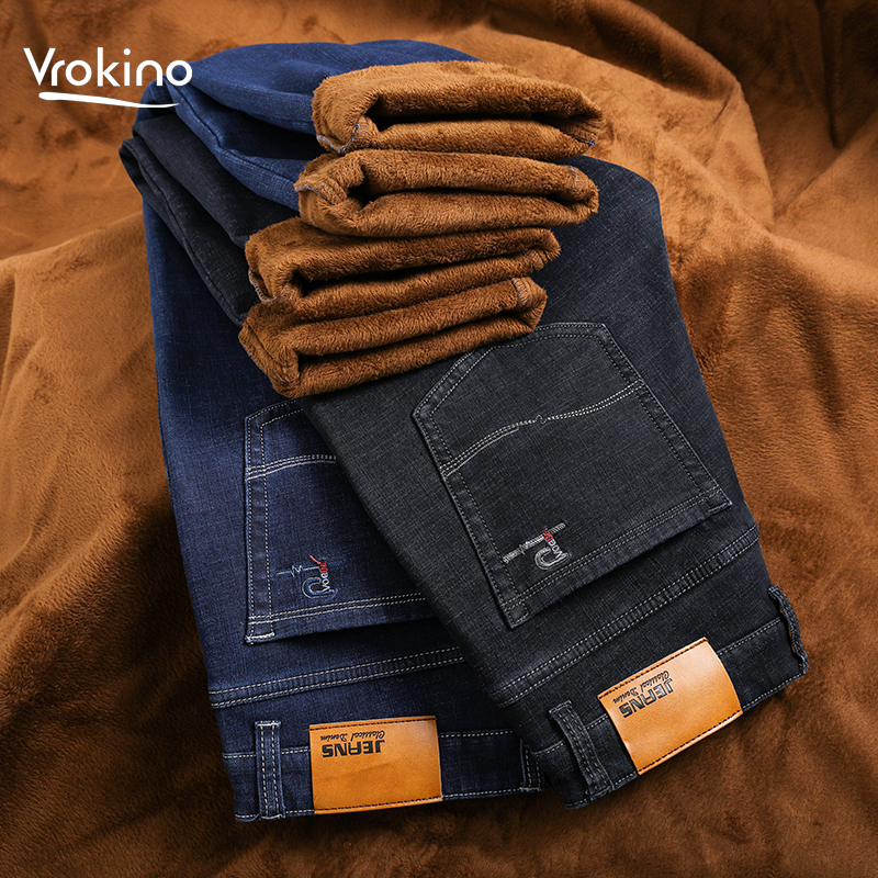 2019 Winter Warm Jeans Men's Fashion Stretch Slim Blue Jeans Business Casual Brand Men's Clothing Large Size 40 42 44
