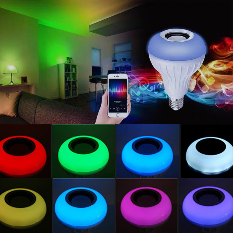 Smart Wireless Bluetooth Bulb Ampoule Led Lamp E27 220V RGB Night Light Bulb With Remote Control For Home Spotlight Music Lamp