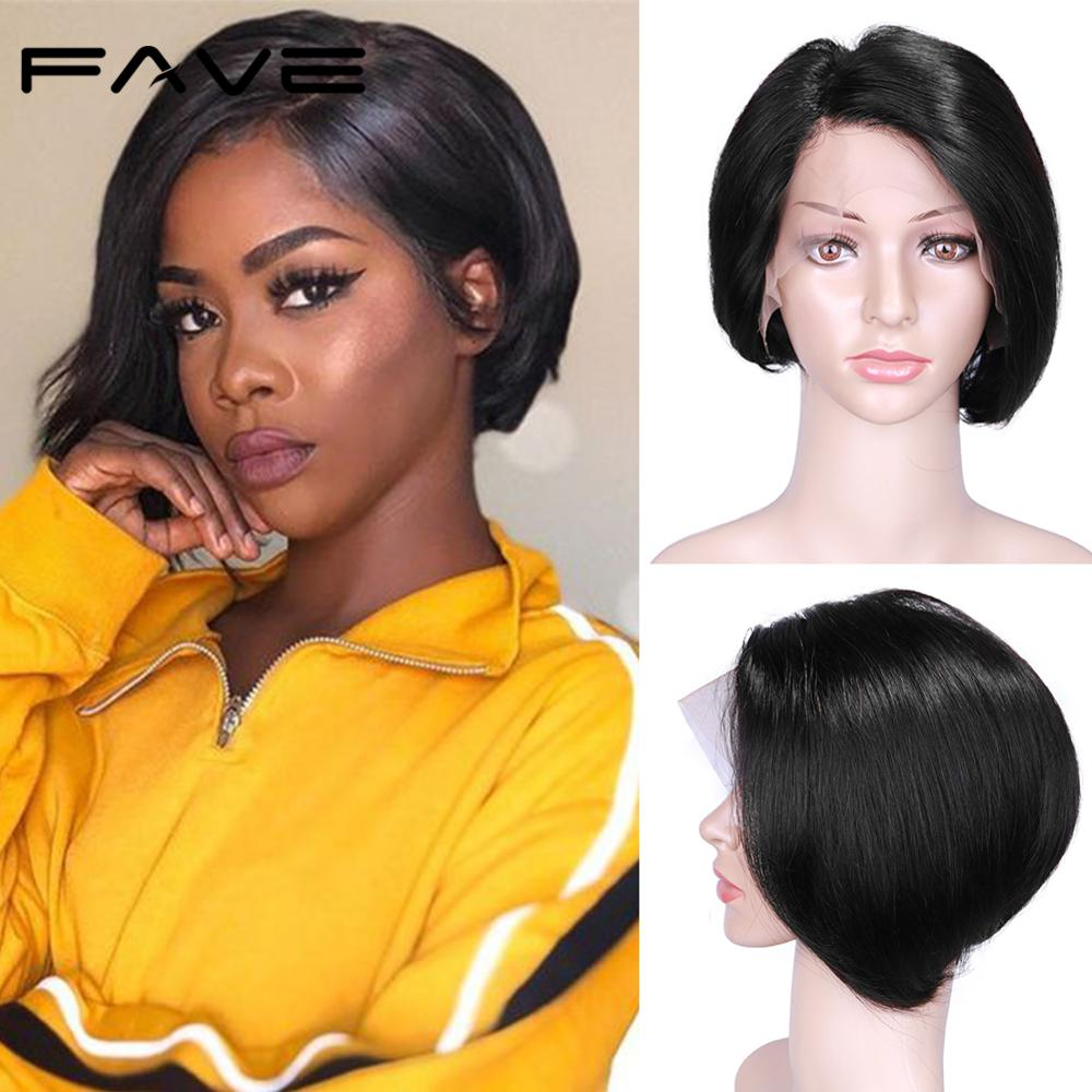 FAVE Pixie Cut Wig 13*4 Lace Front Wigs Short Straight Bob Wig Brazilian Remy Human Hair Wigs For Black Women Lace Wig