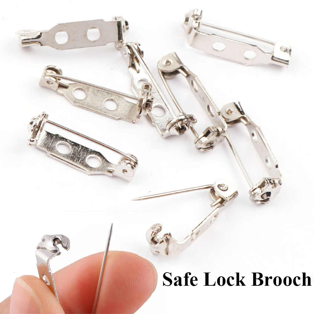 5-20 Pcs/set Putih Besi Berlapis Bros Belakang Bar Pemegang Lencana Kunci Aman Bros Pin Perhiasan Temuan Perhiasan aksesoris