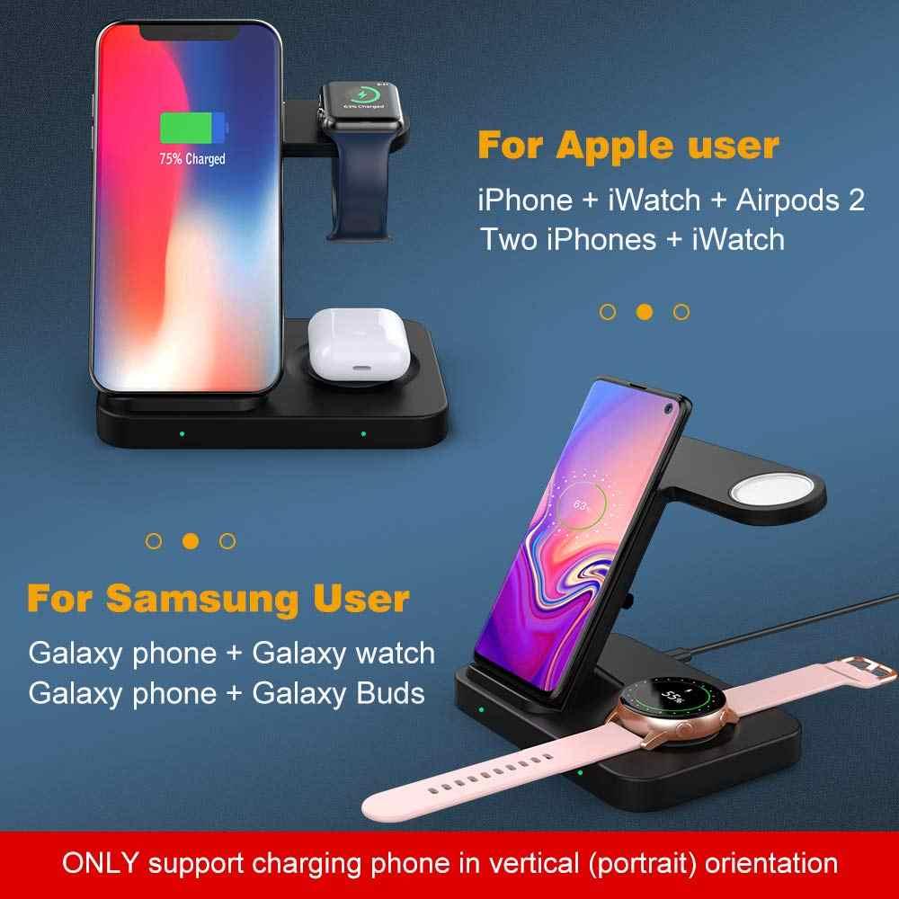 3 ב 1 מהיר אלחוטי מטען Dock תחנה עבור Samsung S20 S10 גלקסי Gear ניצני עבור אפל שעון AirPods פרו iPhone 11 XS XR X 8